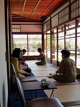Serving tea at Kyu-Konoe-tei tea house